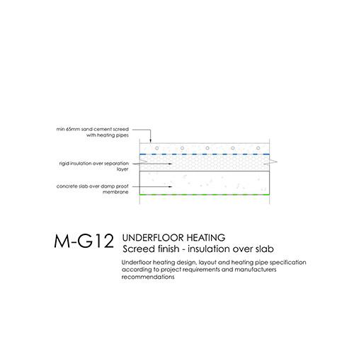 Underfloor heating, screed finish, insulation over slab