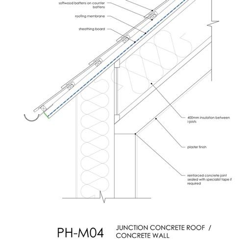 Passivhaus, eaves detail concrete roof junction detail