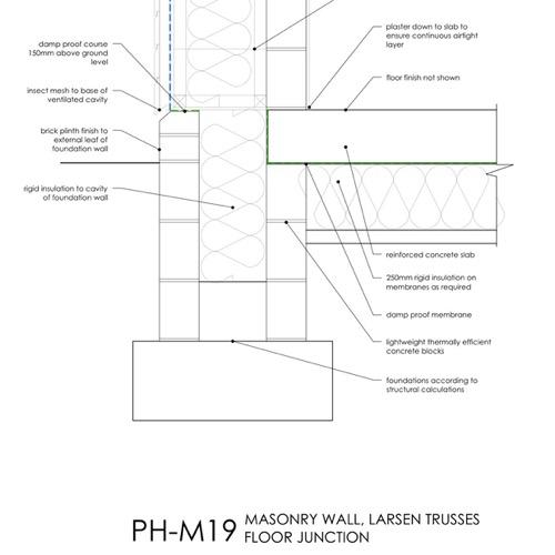 Passivhaus, masonry wall Larsen truss, floor junction