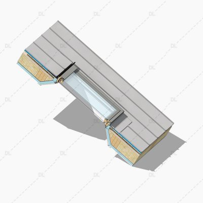 DL01 DL01 Standard rooflight on standing seam roof detail 3D