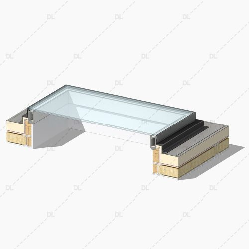 DL04 Rooflight on Timber Flat Roof with Single Ply Membrane Detail 3D
