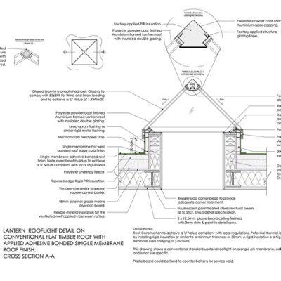 DL05 - Lantern Rooflight on Timber Flat Roof Detail
