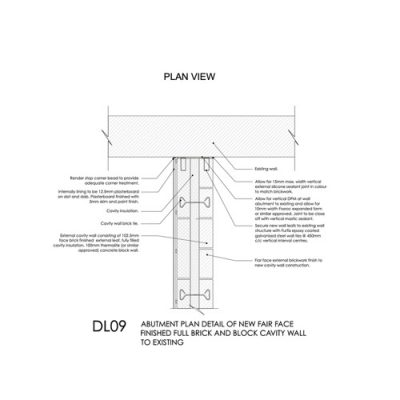DL09 - Abutment Plan Detail of New Cavity Wall to Existing