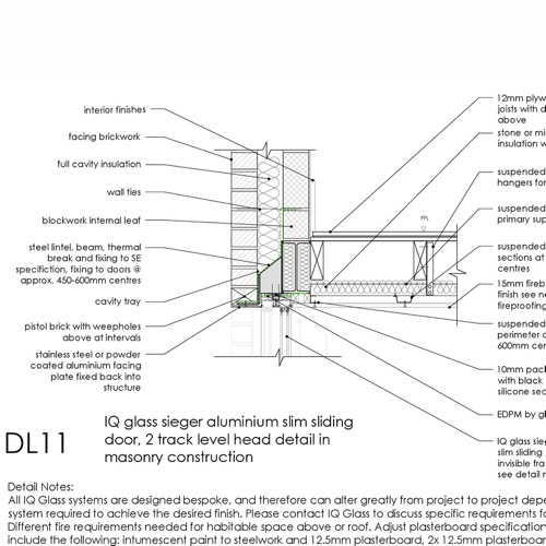 DL11 IQ Glass Aluminium sliding door head detail