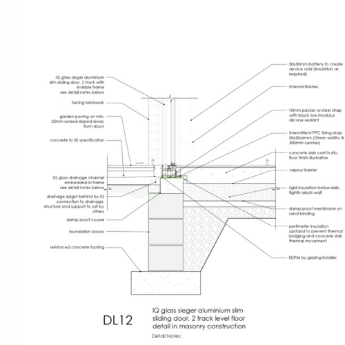 IQ Glass Sliding Door Threshold Detail