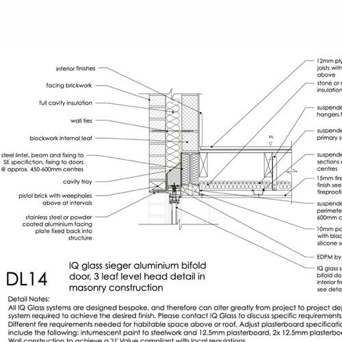 DL14 IQ Glass Bifold Door head detail
