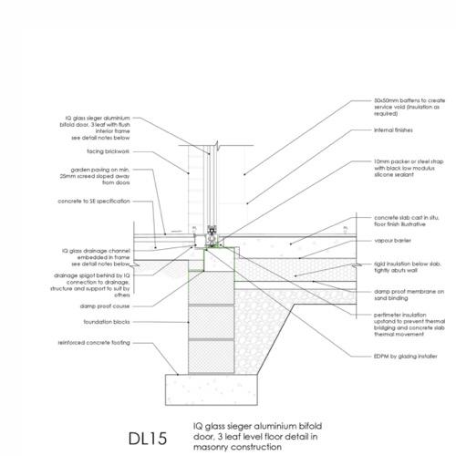 DL15 - IQ Glass Sieger Bifold Door Threshold Detail