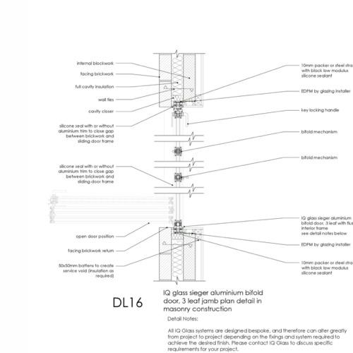 DL16 - IQ Glass Sieger Bifold Door Jamb Detail