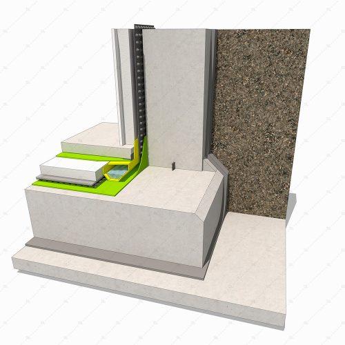 Concrete basement detail internal drainage