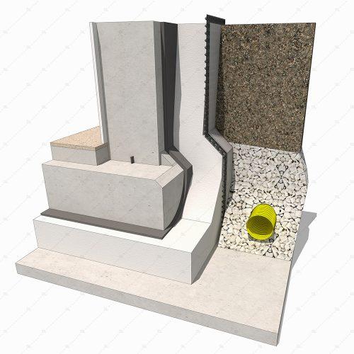 B4 concrete insulated basement detail 3d