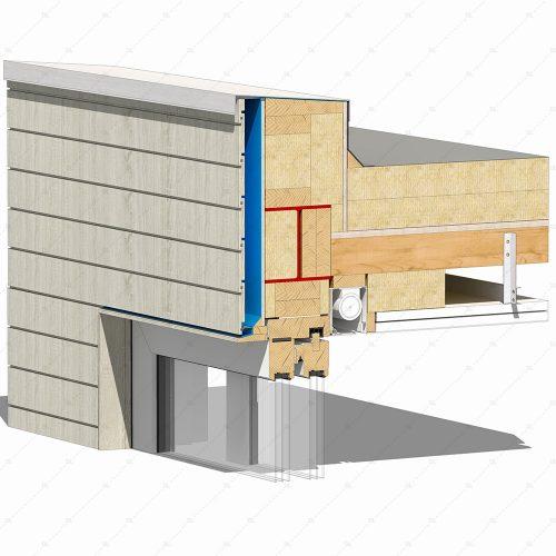 DL24 2 sliding timber door flush head detail concealed blind thumb 3D