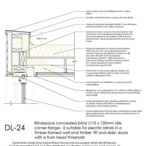 DL24 sliding timber door flush head detail concealed blind Thumb