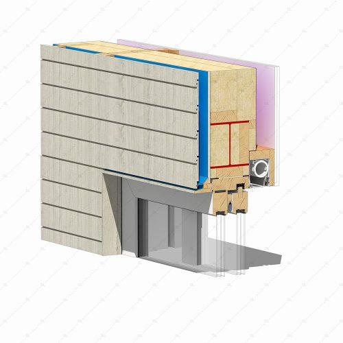 DL25 2 sliding timber doors flush head detail concealed blinds thumb 3D