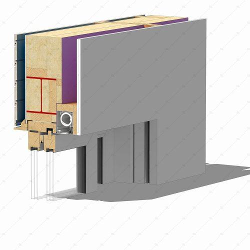 DL25 sliding timber doors flush head detail concealed blinds thumb 3D