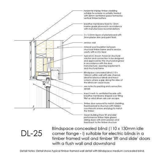 DL25 sliding timber doors flush head detail concealed blinds thumb