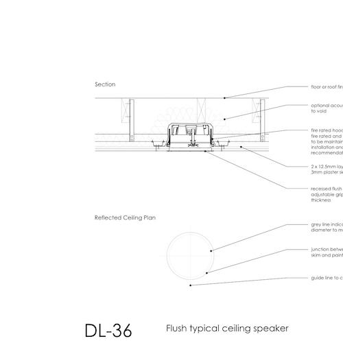 Flush Typical Ceiling Speaker Detail