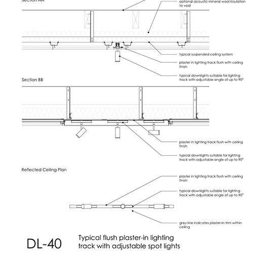 Typical Flush Lighting Track Detail