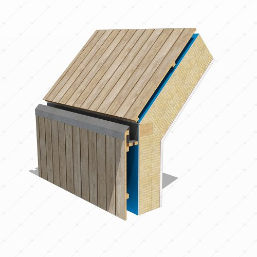 DL45A timber cladding wall to roof with recessed box gutter detail 3D
