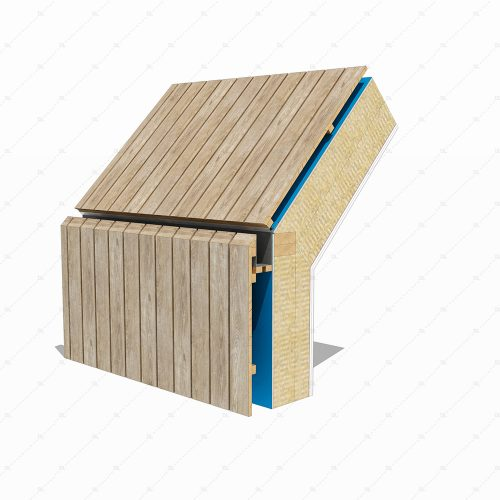 DL45B Timber cladding wall to roof hidden box gutter detail 3D