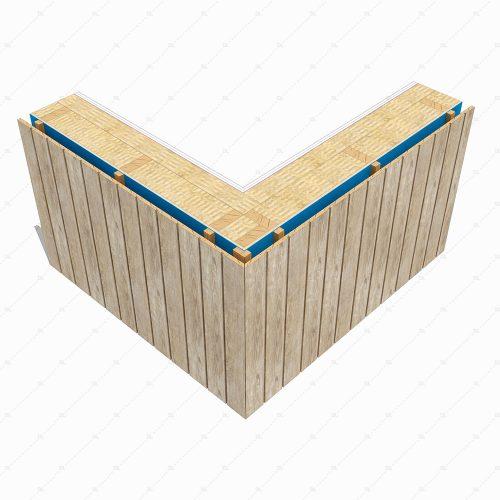 DL46A timber cladding wall corner detail 3D
