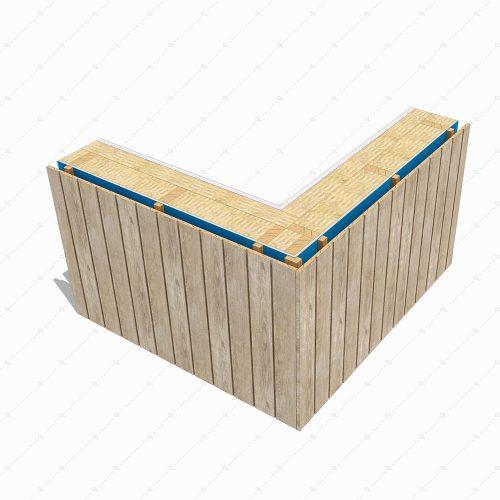 DL46B timber cladding wall corner detail 3D