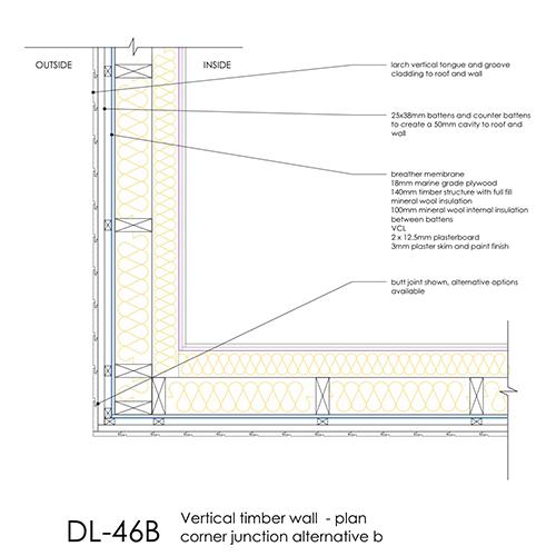 DL46B timber cladding wall corner detail