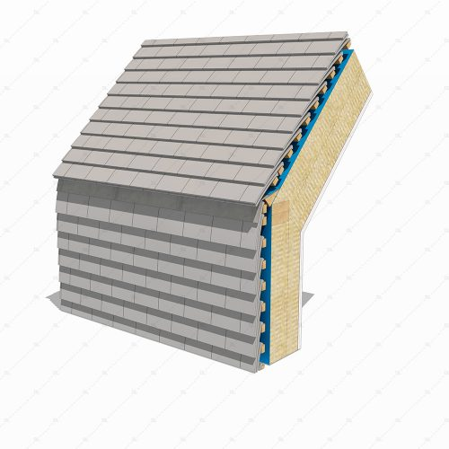 DL47B Hung clay tiles wall to roof flashing detail 3D