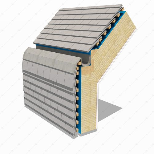 DL48 hung clay tiles wall to roof recessed gutter detail 3D